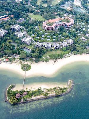 Top View Aerial Drone Shot of Capella Singapore on Sentosa Island