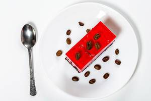 Top view chocolate and strawberry cake with coffee grains (Flip 2019)