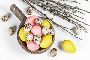 Top view, colored eggs with willow branches on a white background (Flip 2020)