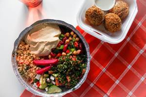 Top View Food Photo of Lebanese Couscous, Hummus, Falafel and Beans
