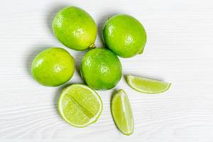 Top view fresh green lime fruit
