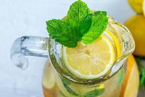 Top view jug with fresh lemonade (Flip 2019)