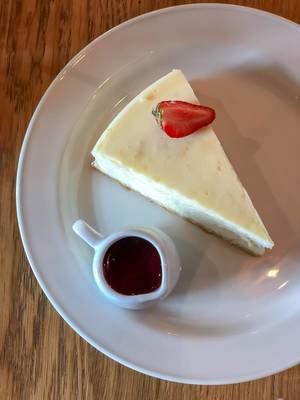 Top view of cheese cake at a restaurant in Saint Petersburg