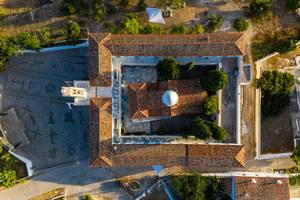 Top view of Church Agios Nikolaos with its picturesque Veranda, at the saronic island Spetses, Greece