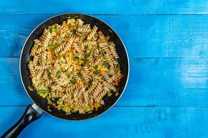 Top view of Cooked Vegetables with Pasta with Copy Space (Flip 2020)