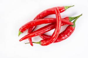 Top view of Fresh Red Hot Chilli Peppers