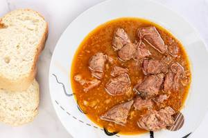 Top view of Goulash meal with Beef meat