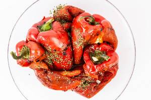 Top view of Grilled Red Paprika salad (Flip 2019)