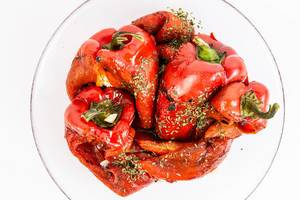 Top view of Grilled Red Paprika salad