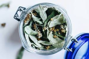 Top view of linden tea in a jar