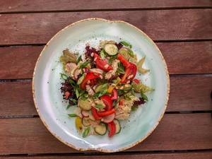 Top view of summer salad at Avocado Cafe