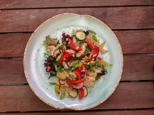 Top view of summer salad at Avocado Cafe
