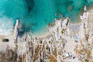 Top view of the popular beach Kolympithres between granite rocks, on the greek island Paros in the Aegean Sea