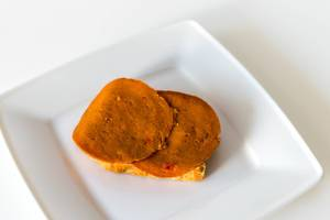 """Top View of vegan fitness food and meat substitute """"Seiten Paprika"""" by Grün Gold, lactose-free"""