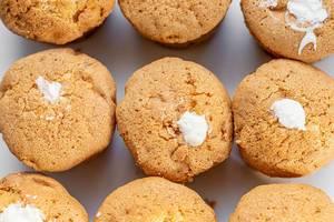 Top view of white cream cupcakes (Flip 2019)