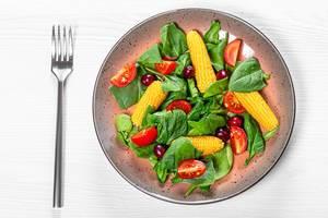 Top view vegetable salad with dogwood berries (Flip 2019)