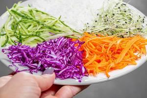 Top-view vegetarisches Mittagessen mit Reis und Gemüse in einer Hand einer Frau