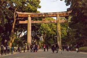 Torii: Japanischer Bogen vor Eingang eines Tempels