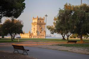 Torre de Belém from the park at sunrise