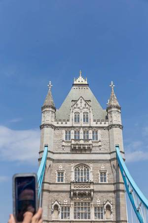 Tower Bridge in London photographed out of a sightseeing bus