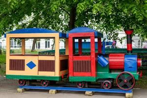 Toy train in child