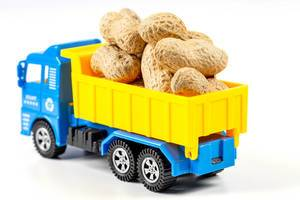 Toy truck with peanuts on white background (Flip 2020)