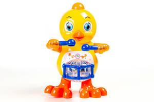 Toy yellow chicken with a drum on a white background (Flip 2020)