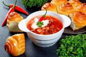 Traditionelle ukrainische Borschtsch-Suppe, mit Fleisch, Gemüse und Kräutern, auf einem dunkeln Tisch