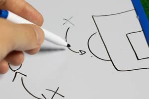 Trainer erklärt die Taktik anhand einer Zeichnung auf einem Whiteboard