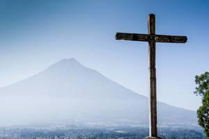 Travel Photo of Cerro de la Cruz with Volcan Agua in the Background in Antigua, Guatemala