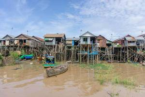 Travel Photo of Local Houses with Wooden Boats near Tonle Sap Lake in Siem Reap, Cambodia