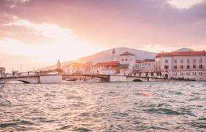 Trogir old town with sunset