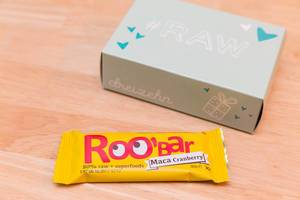 Tür 13: Rohkostriegel Roobar 80% Raw + superfoods Maca Cranberry