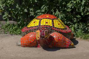 Turtle made of colorful tiles