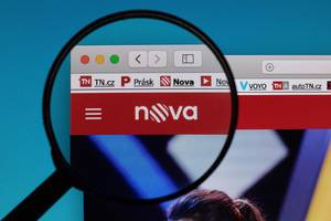 TV Nova logo under magnifying glass