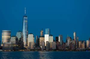 Twilight Night Photo of New York Skyline with One World Trade Center