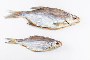 Two dried fish on a white background, top view (Flip 2020)