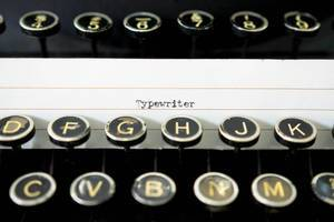 TYPEWRITER lable on typewriter keys
