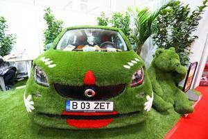 Ums Thema Nachhaltigkeit bei Automesse in Rumänien: Mercedes Smart mit Kunstrasen bedeckt mit grünem Bär und Pflanzen als Deko