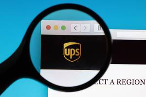 UPS logo under magnifying glass