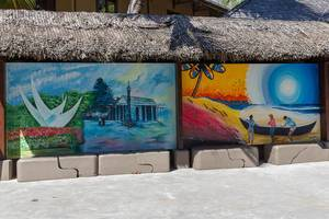 Urban street art shows painting of capital Victoria and beach of Seychelles Island Mahé