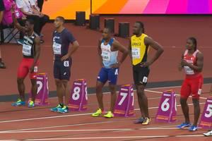Usain Bolt, Cejhae Greene und weitere 100-Meter-Läufer bei den IAAF Leichtathletik-Weltmeisterschaften 2017 in London