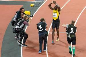 Usain Bolt nach seinem letzten Rennen in London 2017