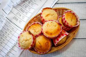 Vanilla Muffins in a Basket