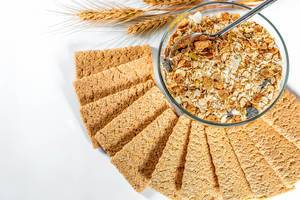 Variety of grain and cereals for Breakfast with low-calorie bread
