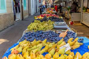 Various fruits on marketplace in Rijeka, Croatia