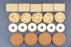 Various shapes of biscuits, dark background (Flip 2019)