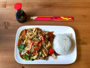 Vegan Chop Suey with Tofu and Rice