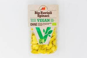 Vegane Bio Ravioli mit Spinat von Mosna, laktosefrei und 100% rein pflanzlich, in Verpackung vor weißem Hintergrund