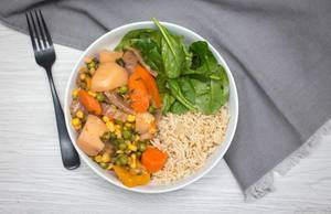 vegetables Curry with Rice and Spinach Top View